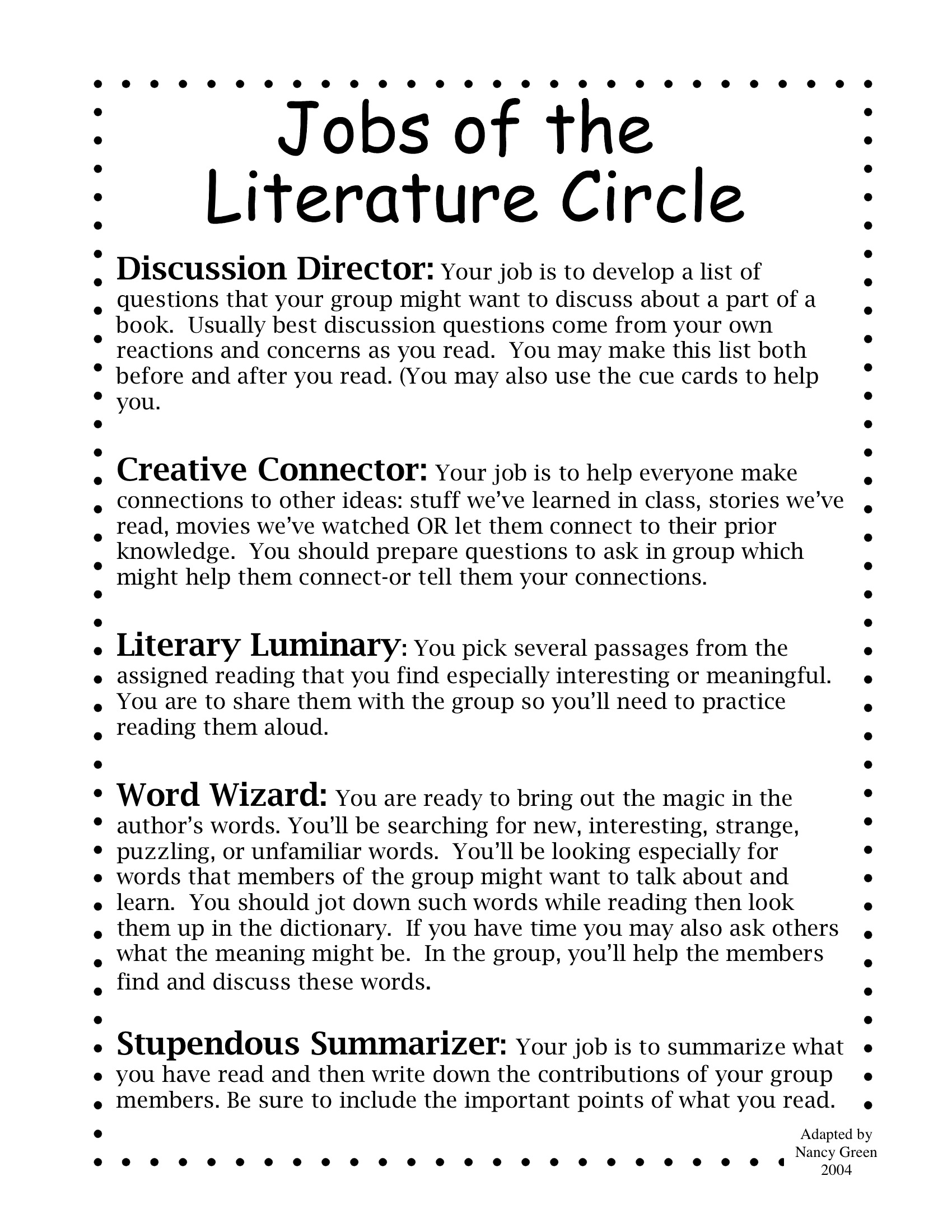 Essay questions for literature circles