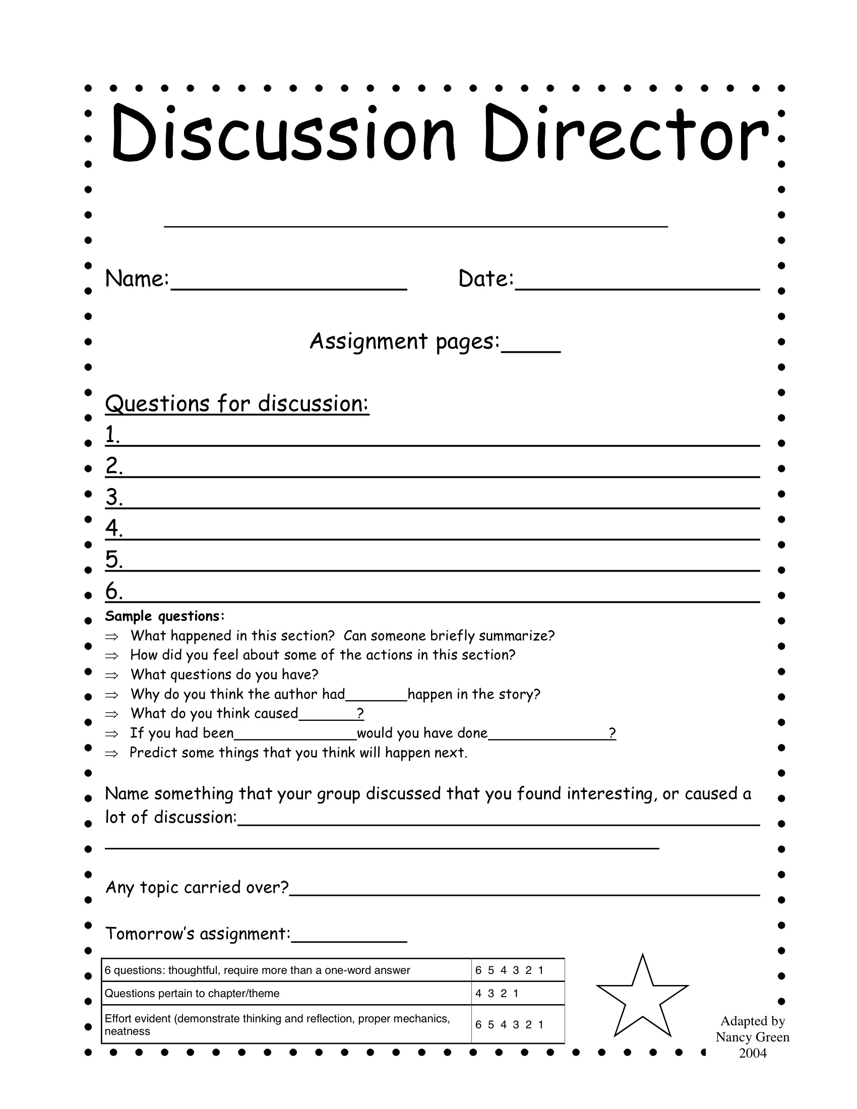 Literature Circle Handouts Not My Work 2nd 6th Grade Jake Dury