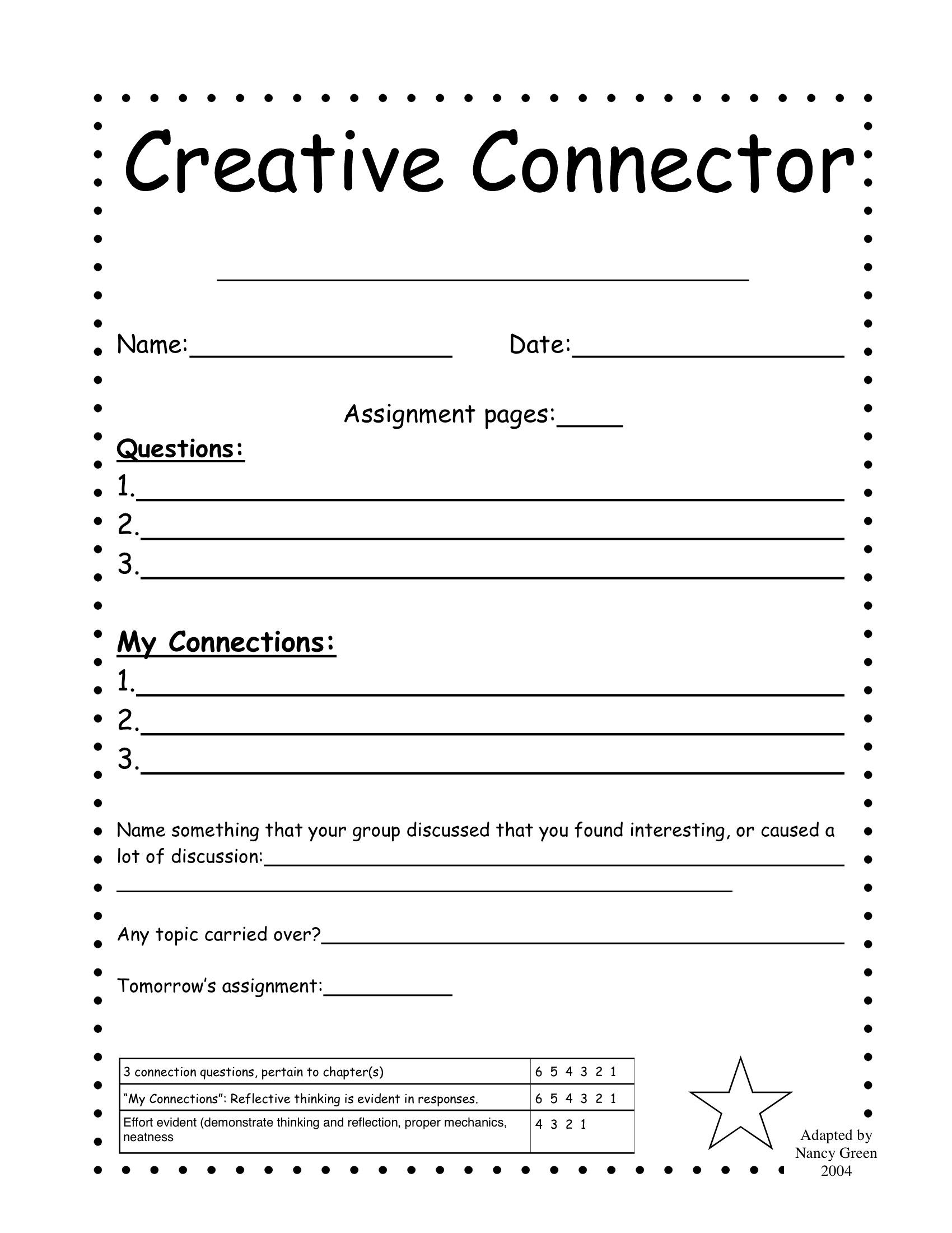 Literature Circle Handouts Not My Work 2nd 6th Grade Jake Dury