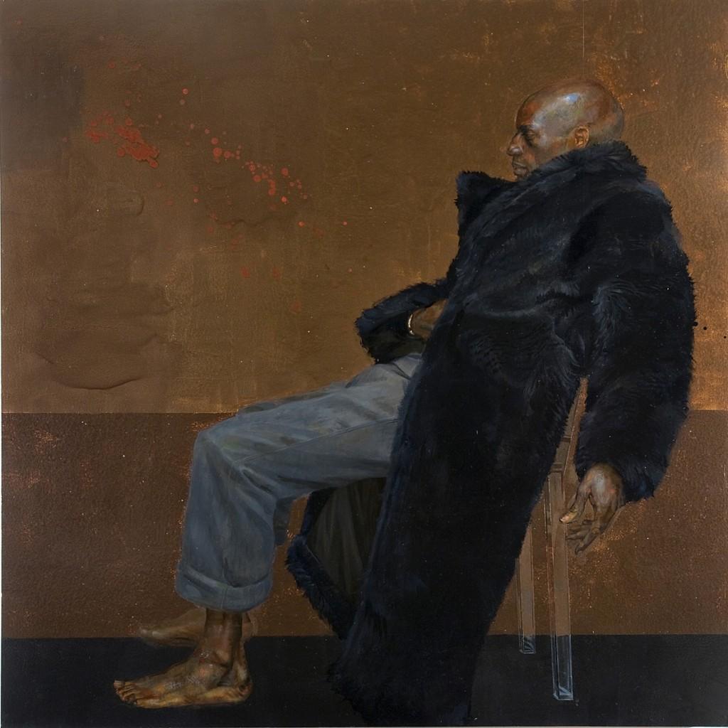 Carlos Sitting on a Clear Plastic Chair, H.Craig HANNA, Oil on Board, 229 x 229 cm